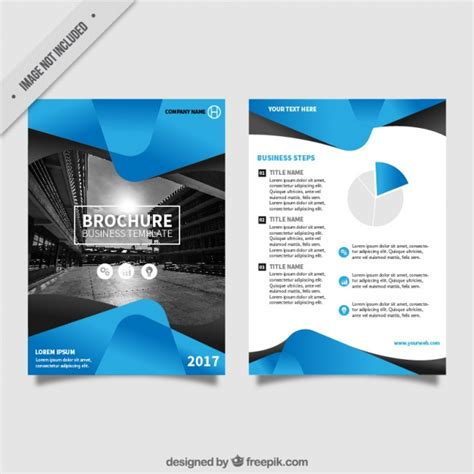 flier template flyer template with blue abstract forms vector free