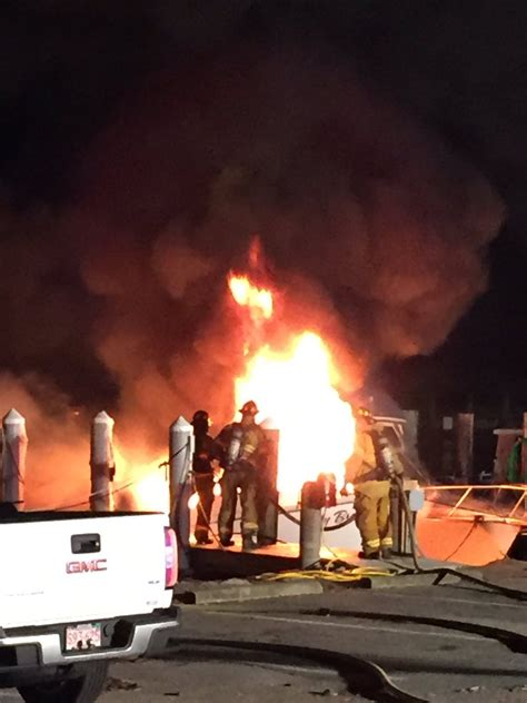 falmouth fire boat large boat fire in falmouth capecod