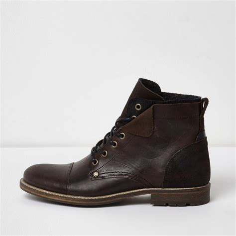 D Island Boots Portland Slip On Leather Brown lyst river island brown leather turn boots brown leather turn