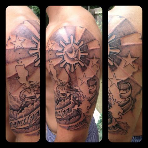 filipino star tattoo sun with the islands going a