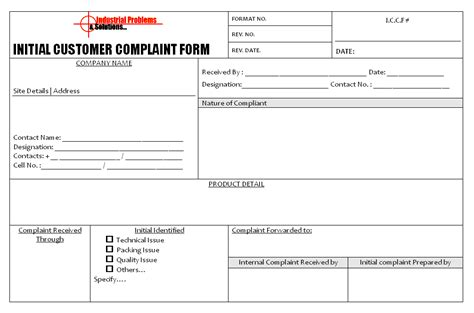 free customer complaint form template template sle