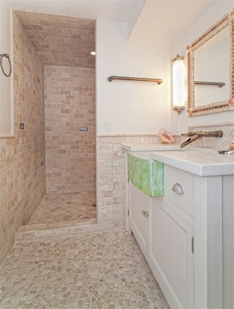 pool bathroom ideas beautiful bathroom with a spin on rustic and beachy it s cool how you can tile floor to kitchen