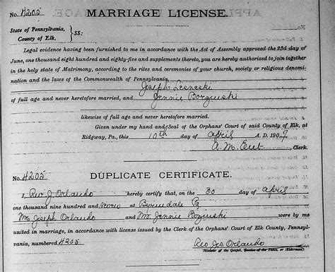 Ct Marriage License Records Official Pennsylvania Marriage License 2014 Images