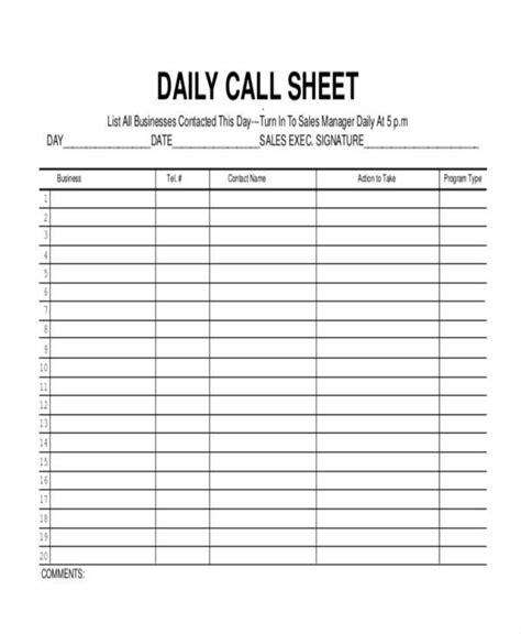 16 call log templates in pdf