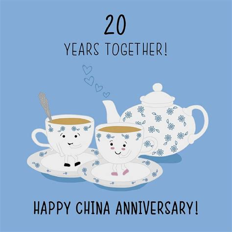 Wedding Anniversary Gift China by 20th Wedding Anniversary Card China Anniversary