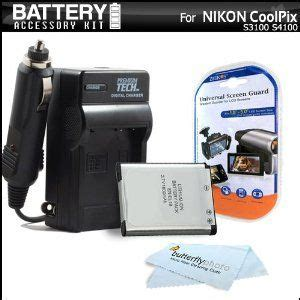 battery and charger kit for nikon coolpix s3100 s4100 s100