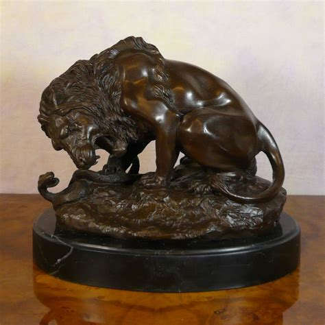 Garden Animal Statues by Lion And Serpent Bronze Statue Animal Bronzes