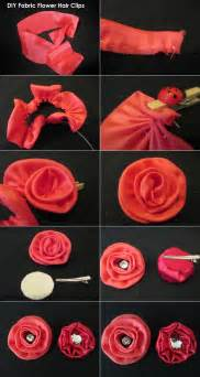 Diy tutorial hair accessories fabric flower hair clips bead amp cord