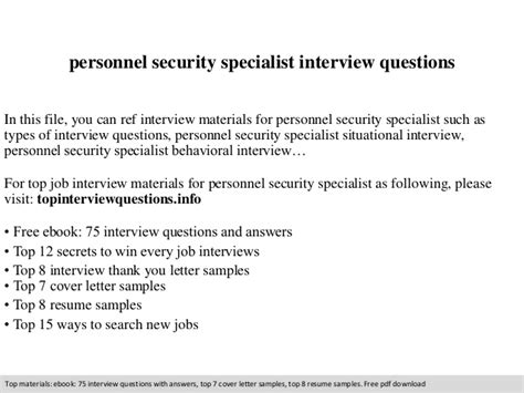 Personnel Security Specialist Cover Letter by Personnel Security Specialist Questions