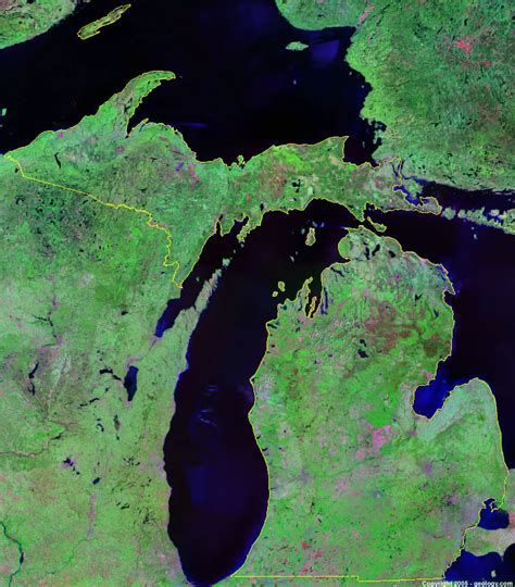 maps satellite image michigan satellite images landsat color image