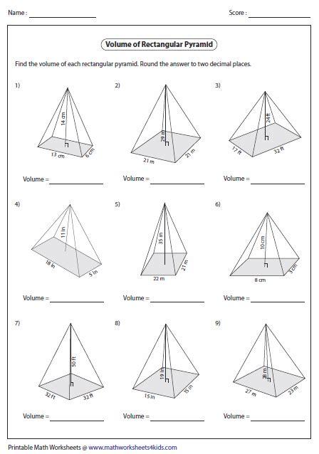 printable math worksheets volume of pyramid volume worksheets