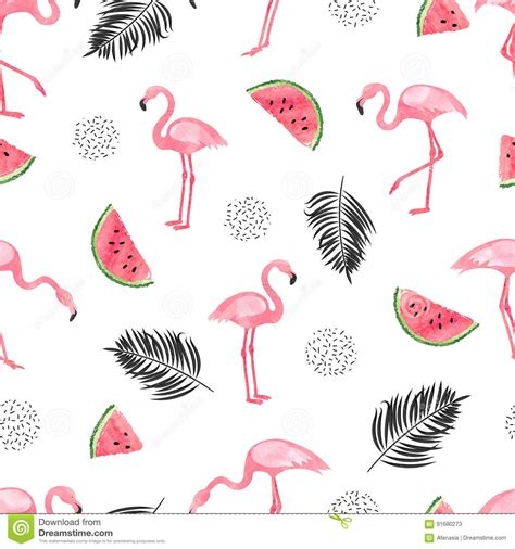 watercolor flamingos pattern vector free download seamless tropical trendy pattern with watercolor flamingos