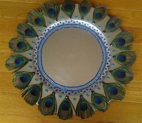 Decorative Tray with Peacock Feathers.  Raji Creations