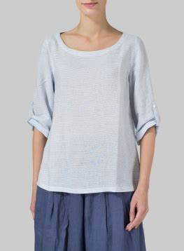 boat neck quarter sleeve top linen boat neck three quarter sleeve top