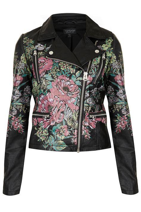 jacket hand design lyst topshop printed floral biker jacket in pink
