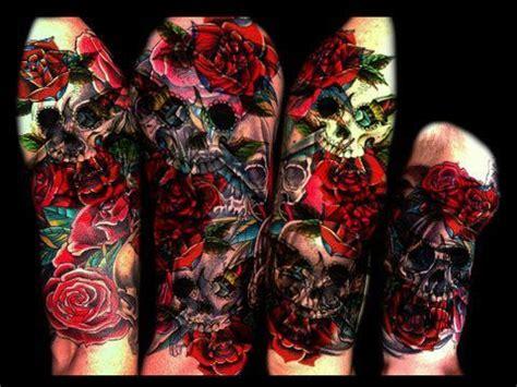 punk tattoo sleeve designs www imgkid com the image dacio skull roses temporary