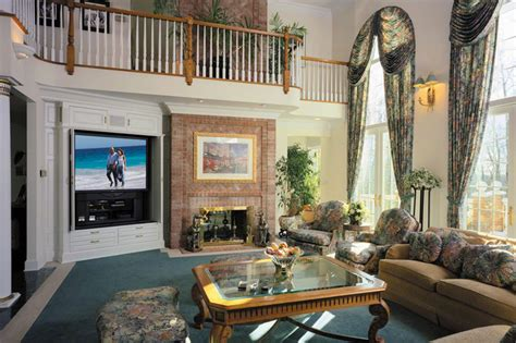 traditional high ceiling living room design ideas remote control great room with high ceiling and stony