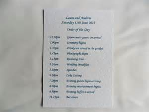 wedding order of day card on white card more wedding order of day on white card monot