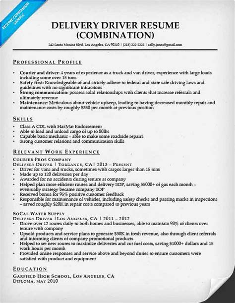Delivery Driver Resume Exles by Combination Resume Sles Resume Companion