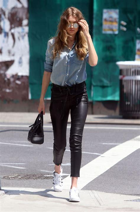 gigi hadid leather gigi hadid in leather pants out in nyc celebzz celebzz