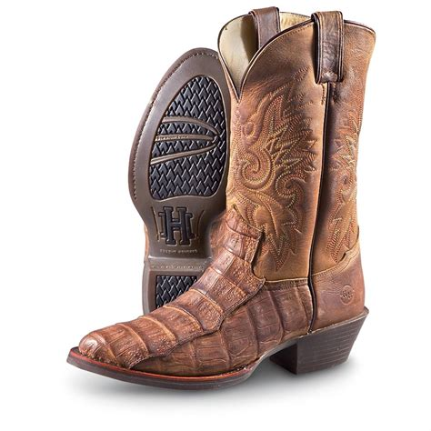s h 174 boot distressed caiman boots brown