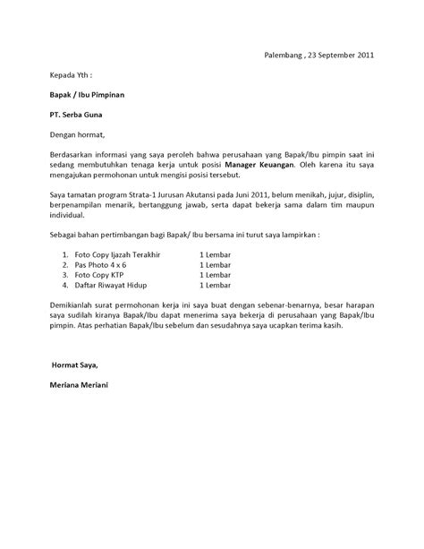 application letter contoh bahasa indonesia surat lamaran kerja fresh graduate bahasa indonesia