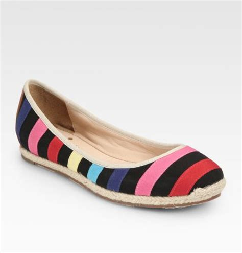 Flat Shoes Vivi kate spade vivi striped canvas espadrille flats in black
