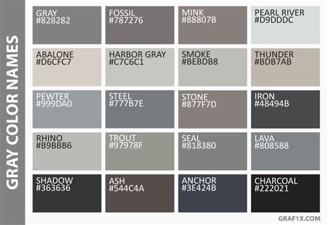 shades of grey color names list of colors with color names graf1x com