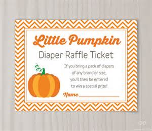 little pumpkin diaper raffle ticket baby shower by