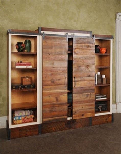2 door cabinet with center shelves barn door sliding wall unit shelves on the and