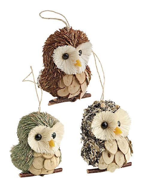 owl ornaments set     christmas tree