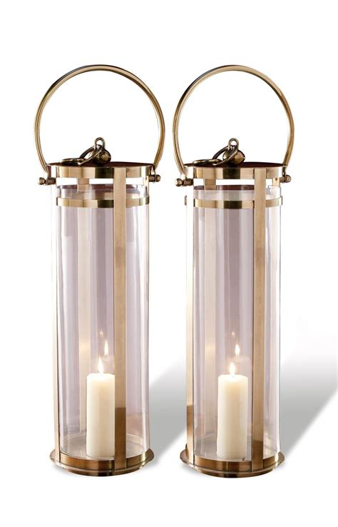 Large Floor Lanterns by Santos Large Modern Brass Floor Lanterns Pair Kathy