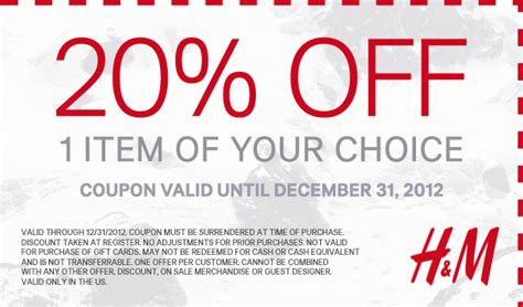 An Hm Offer For All by H M Coupons 20 A Single Item All Year At H M