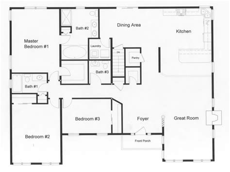 2 bedroom 2 bath open floor plans 3 bedroom ranch house open floor plans three bedroom two
