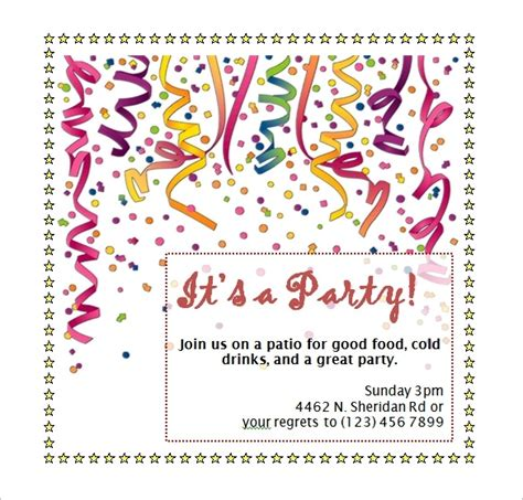 birthday party invitation template word beepmunk
