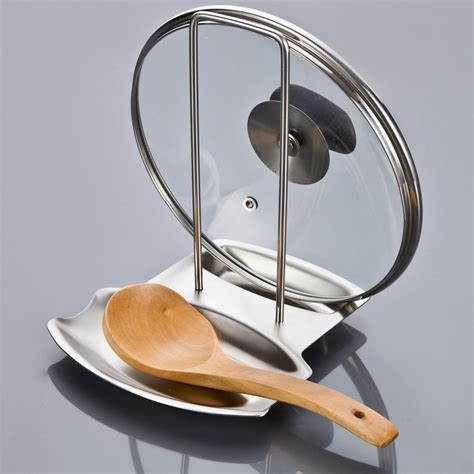 Pan Holder Rack Stainless Steel Pan Pot Rack Cover Lid Rack Stand Spoon