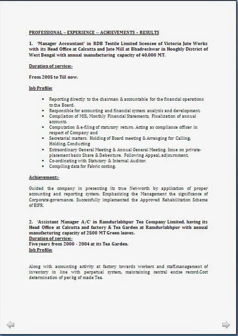 resume format for 4 years experience in finance resume co resume sle ca cma cwa 18 years rich experience in finance accounts