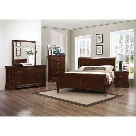 mayville brown cherry traditional  piece queen bedroom set