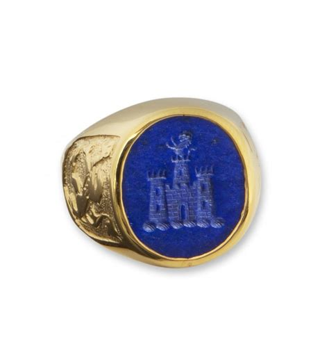 lapis and castle with scottish lions gold plated