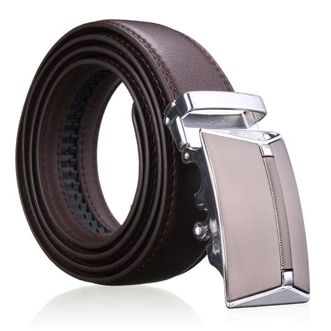 second floor cowhide leather belt automatic buckle