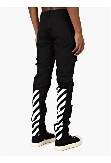 jeans swing com off white c o virgil abloh men s black logo printed jeans