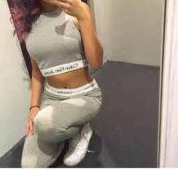 jeans calvin klein one piece grey white crop