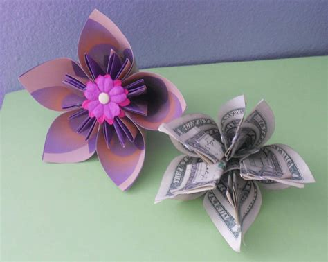 Large Origami Flowers - money origami flower edition 10 different ways to fold a