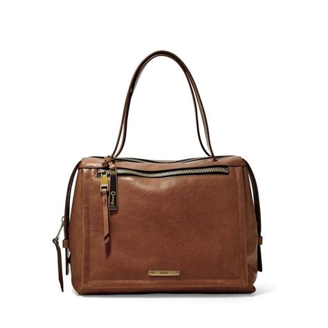 Fossil Large Satchel by Handbag Fossil Brown Leather Large Satchel Zipper