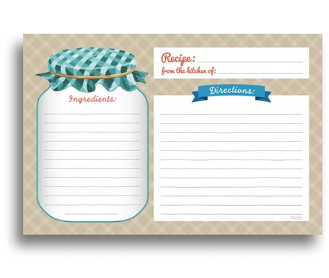 jar recipes recipe card template jar recipe cards 50 sided cards 4x6 inches
