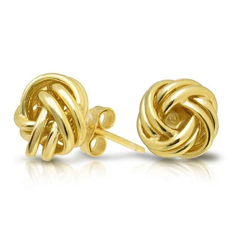 Gold Stud Earrings gold vermeil woven knot stud earrings 925 sterling