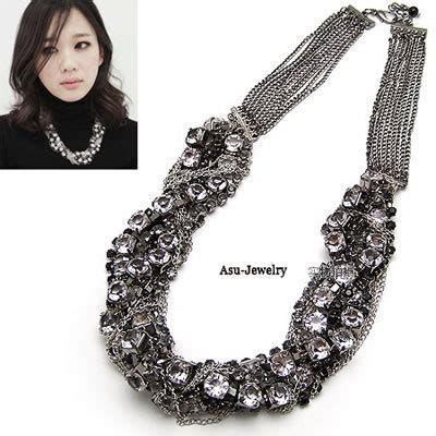 Kalung Korea Choker Pendant Decorated Hollw Out Weaving aluminium antique silver mixed chain asujewelry
