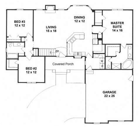 Floor Plans With Garage On Side by Plan 1611 3 Bedroom Ranch W Covered Porch Side Load