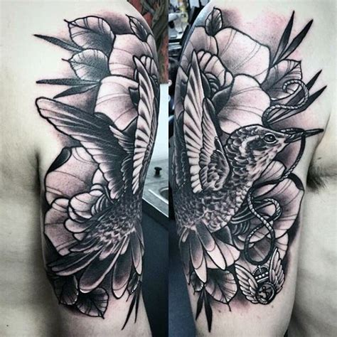 black and grey hummingbird tattoo 80 hummingbird tattoo designs for men winged ink ideas