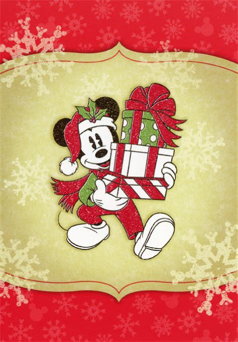 mickey mouse carrying presents disney christmas card  image arts